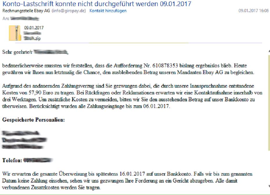 Gefährliche SPAM E-Mail von Rechnungsstelle Ebay AG – Mediencenter ...