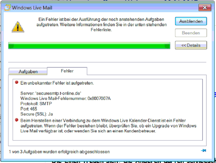 windows live mail fehlermeldung